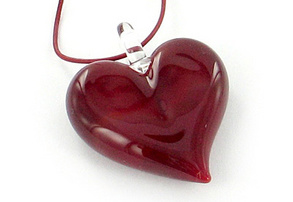 Heart pendant on leather cord ruby red by Yummi Glass