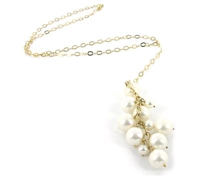 Carolina Bucci Gold necklace with pearl cluster in 18K yellow gold by Astley Clarke