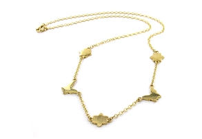 Flora Astor Gold necklace with butterflies and flowers by Astley Clarke