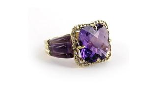 Hudson Collection Amethyst ring in 14K yellow gold with diamonds