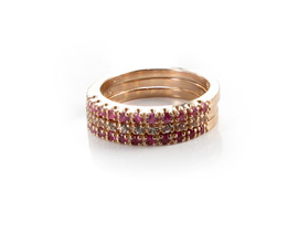 Hudson Collection Pink multi sapphire stack bands in 14K rose gold