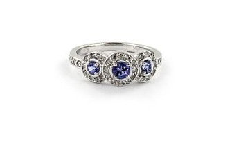 Hudson Collection Tanzanite ring with diamonds in 14K white gold
