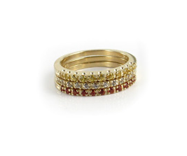 Hudson Collection Yellow multi sapphire stack bands in 14K yellow gold