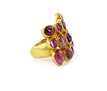 Pippa Small 22K gold ring with multi pink tourmalines