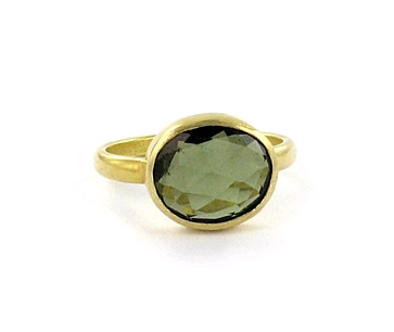 Pippa Small 22K gold ring with green tourmaline