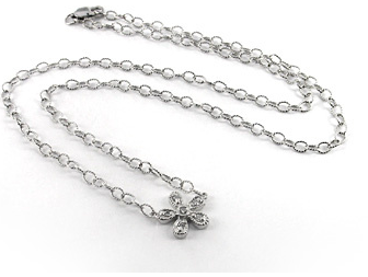 Saffron Lloyd 14K white gold diamond flower necklace