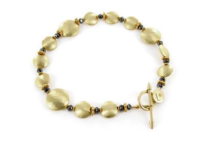 Laura Gibson 18ct gold disc and black diamond bracelet