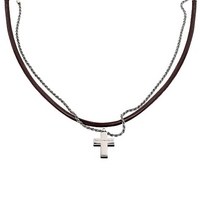 Emporio Armani men's leather and sterling silver necklace