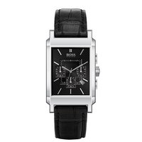 Hugo Boss men's black leather strap watch