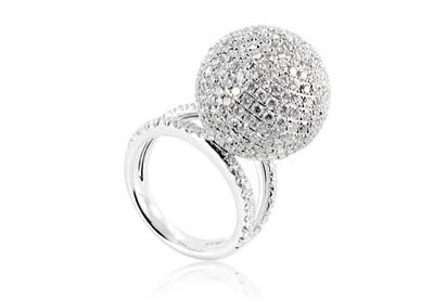 Takara Diamond Moon cocktail ring in 18ct white gold