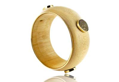 Nazanine Tassoudji Light wooden bangle with 18ct gold and antique coins