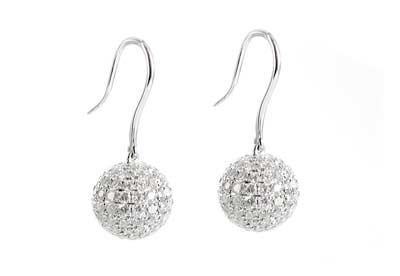Takara Diamond Moon earrings in 18ct white gold