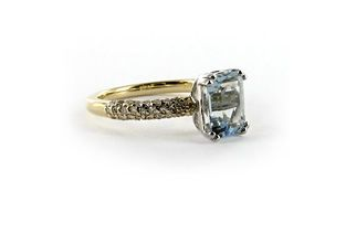 Hudson Collection Aquamarine ring with diamonds in 14K gold by Astley Clarke