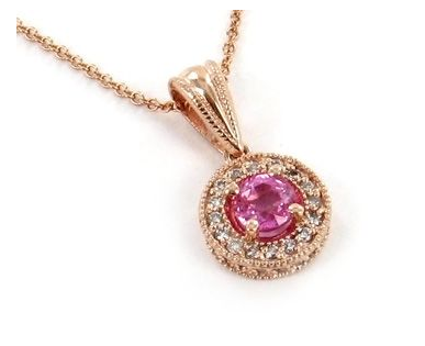 Hudson Collection Pink sapphire pendant with diamonds in 14K rose gold