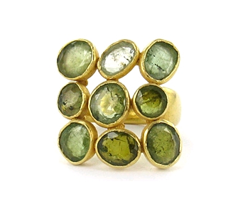 Pippa Small 22K gold ring with multi green tourmaline by Astley Clarke
