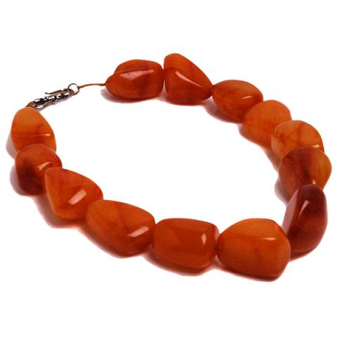 Pebble Amber tumbles necklace