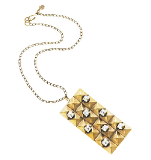 Gold Rectangle Pendant with Crystals necklace