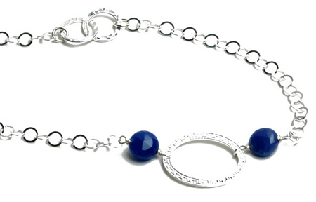 Blue Agate Long Loop Necklace
