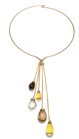 Necklace with Chain and Stone Drops