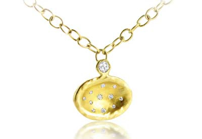 Talisman Diamond saucer pendant in 18ct yellow gold
