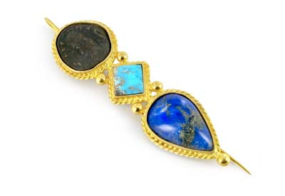 Nazanine Tassoudji Parthian coin 18ct gold brooch with lapis and turquoise