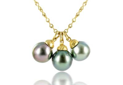 Talisman Tahitian three pearl necklace in 18ct yellow gold