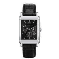 Hugo Boss men's black leather strap watch