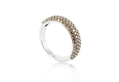 Takara 18ct white gold and cognac diamond half eternity ring