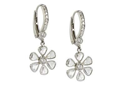 John Apel Single drop diamond daisy earrings in platinum